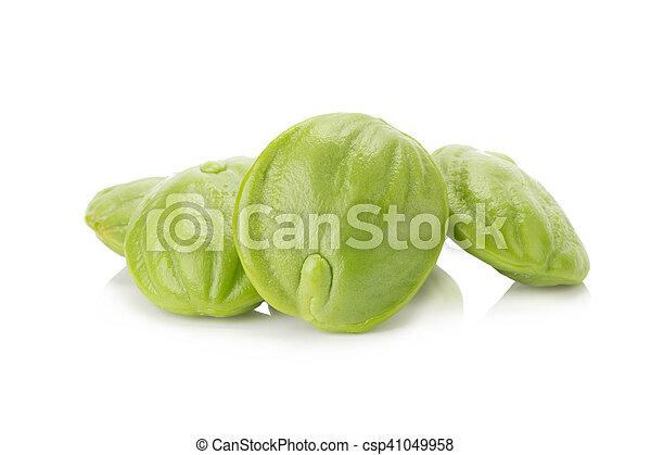 Parkia speciosa seeds or bitter bean on white background - csp41049958