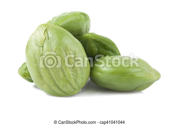 Parkia speciosa seeds or bitter bean on white background - csp41041044