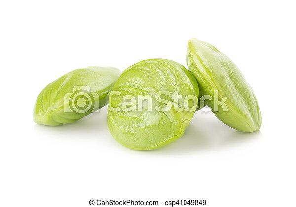 Parkia speciosa seeds or bitter bean on white background - csp41049849
