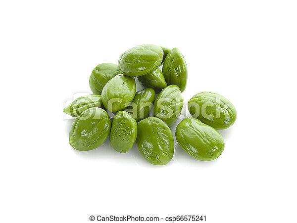 Parkia speciosa seeds or bitter bean on white background - csp66575241