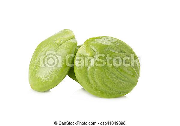 Parkia speciosa seeds or bitter bean on white background - csp41049898