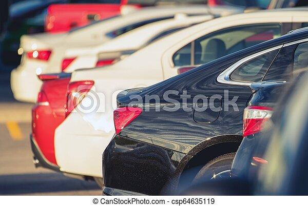 Parking Full of Modern Cars - csp64635119