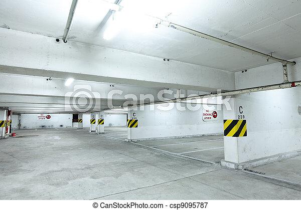 parking garage at night - csp9095787