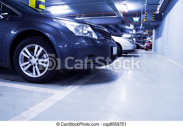 Parking garage, car in underground interior - csp8559751