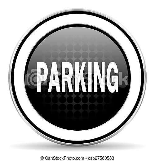 parking icon, black chrome button - csp27580583