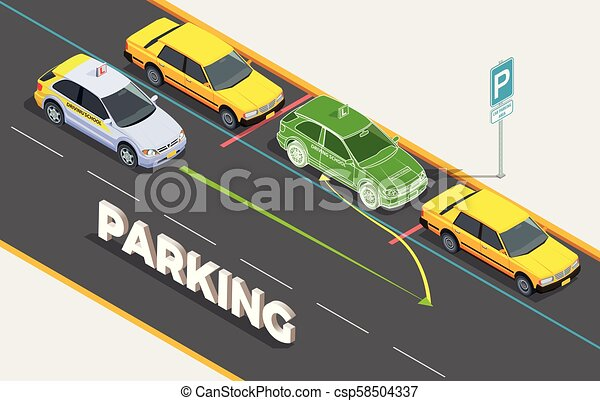 Parking Isometric Background Concept