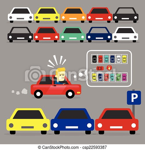 parking lot is full a man looking for his car a free space rh canstockphoto com parking area clipart parking lot safety clip art