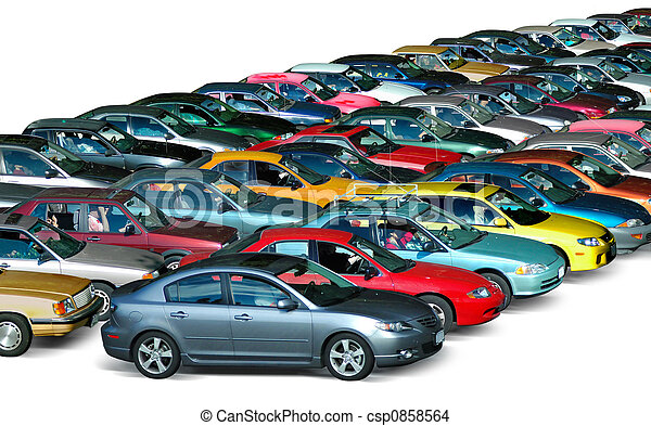 Parking Lot Cars In The Parking Lot Isolated In White Background