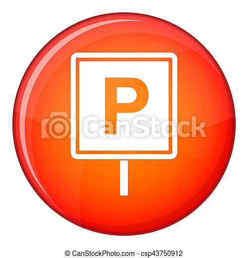 Parking sign icon, flat style - csp43750912