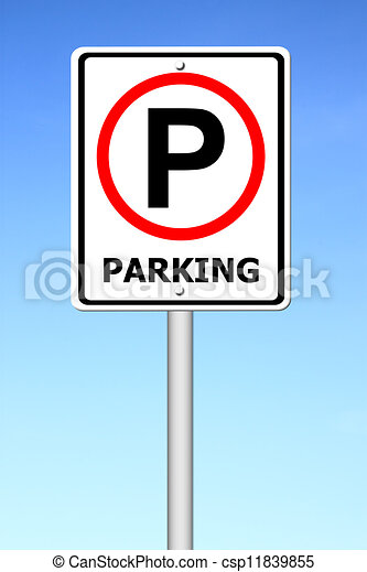 parking sign with a sky - csp11839855