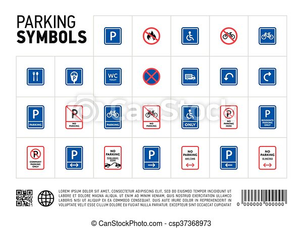 Parking zone sign isolated icon set - csp37368973