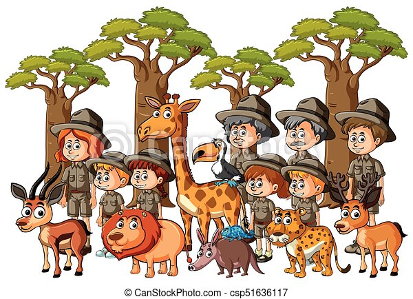 Vector Line Art Animals : Parkrangers and kids with animals in forest illustration
