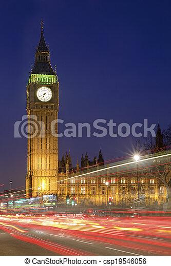 parlament, ben, cielna, domy, londyn, noc - csp19546056