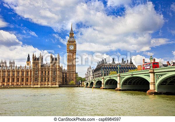 parlament, big ben, london, häusser - csp6984597