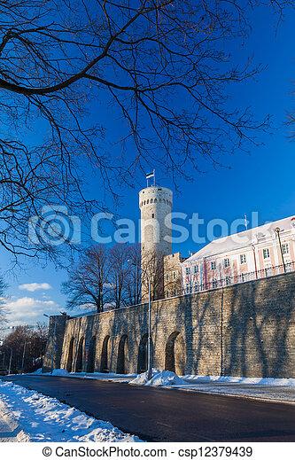parlamento, estónia, tallinn, torre, herman, edifício. - csp12379439