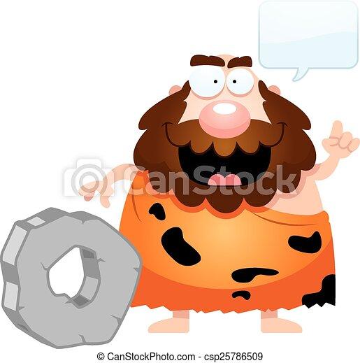 parlare, caveman, cartone animato - csp25786509