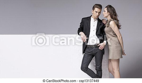 parlare, donna, sensuale, lei, ragazzo - csp13137449