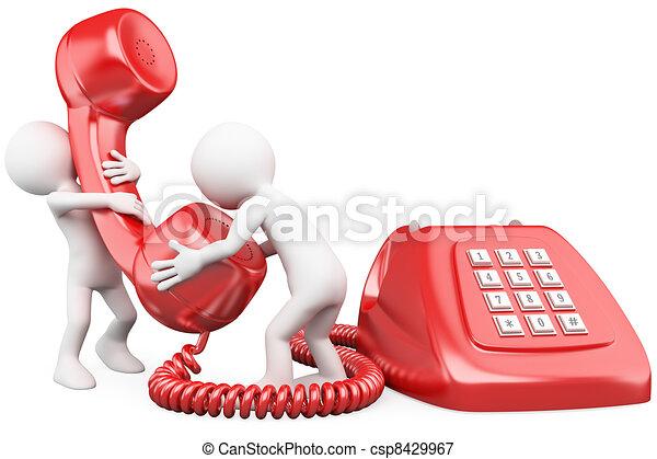 parlare, telefono, piccolo, 3d, persone - csp8429967