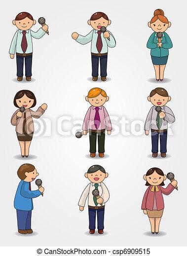 parler, orateur, microphone, bureau, ensemble, dessin animé, rigolote, ouvrier - csp6909515