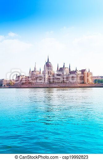 Parliament on Danube river at summer time - csp19992823