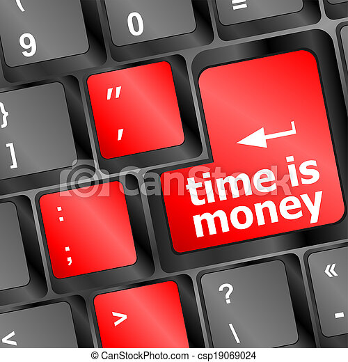 parola, soldi, tempo, tastiera computer, concept: - csp19069024