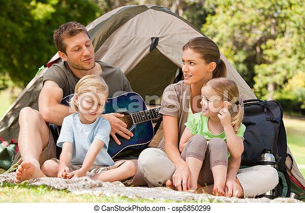 parque, acampamento familiar - csp5850299