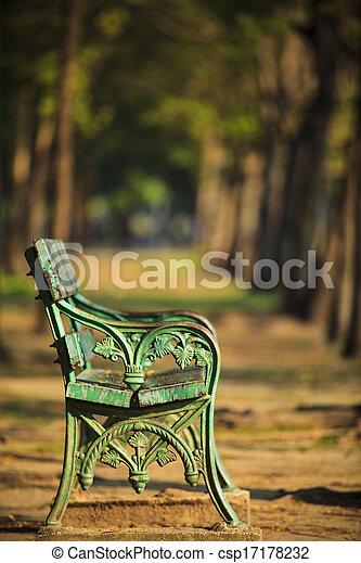 parque, antigas, verde, blurry, banco - csp17178232