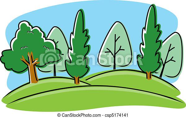 parque, caricatura - csp5174141