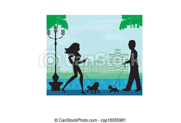 Pasear al perro en un parque - csp18055981