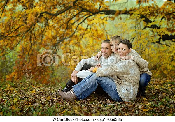 parque, familia , feliz - csp17659335