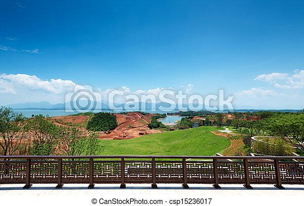 parque, lago - csp15236017