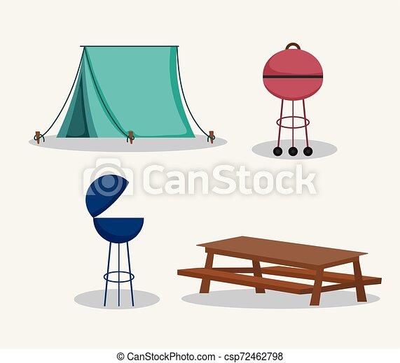 Tienda de mesa de picnic en el parque - csp72462798