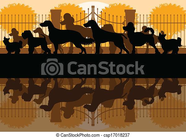 Varios perros crían siluetas en el jardín de perros - csp17018237