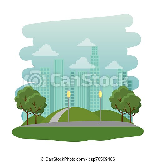 Parque recreativo con escena natural de carretera - csp70509466