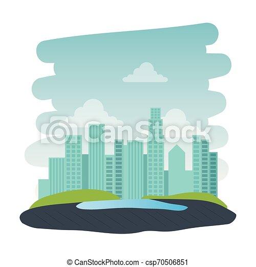 Parque recreativo con escena natural del lago - csp70506851
