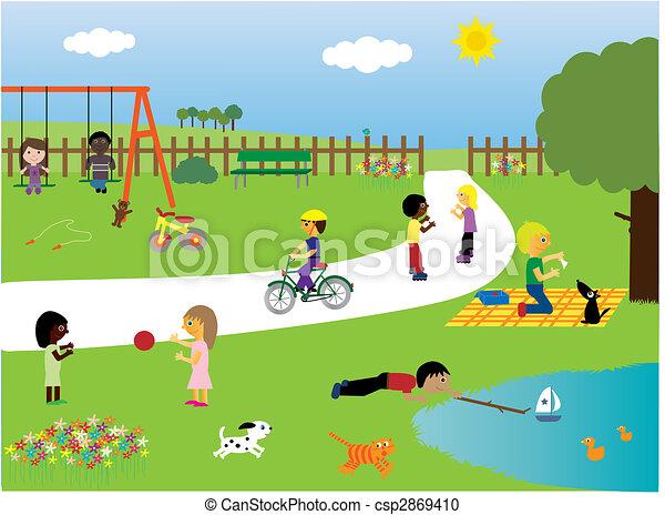 parque, tocando, crianças - csp2869410