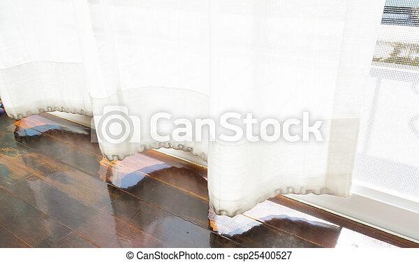 parquet floors and curtain. - csp25400527