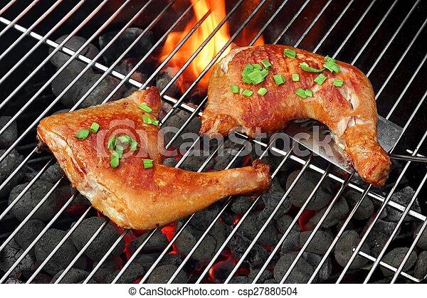 Parrilla, carbón, cuartos, caliente, asado, barbacoa, pollo. Carbón ...