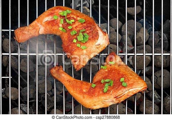 Parrilla, carbón, dos, cuartos, caliente, pollo asado, barbacoa ...