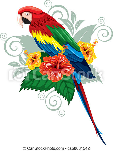 Parrot and tropical flowers - csp8681542