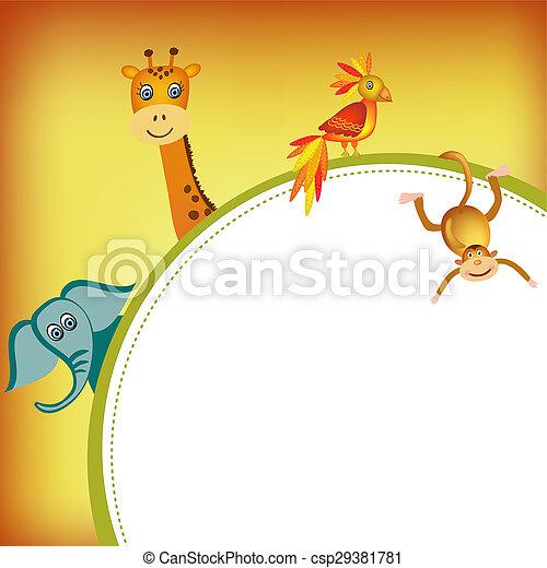 parrot, giraffe, elephant and monkey frame - csp29381781