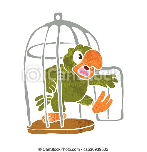 parrot out of the cage vector illustration