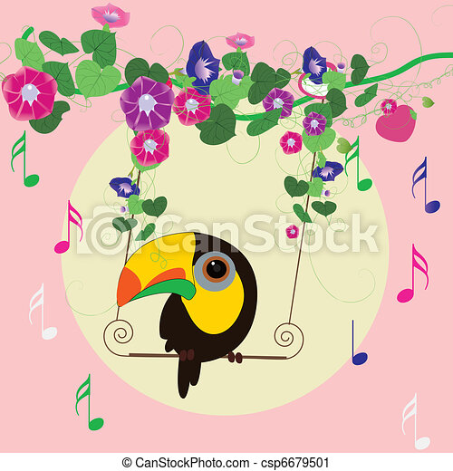 parrot Singing under the  morning glory  - csp6679501