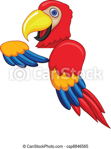 vector illustration of parrot with blank sign