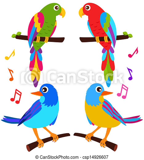 A Colorful Vector Icons Parrots And Birds Isolated On White