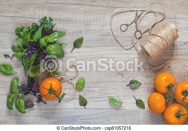 Parsley and basil bunch of bouquets, branch yellow tomatoes, scissors and rope cord on light wooden surface. - csp61057216
