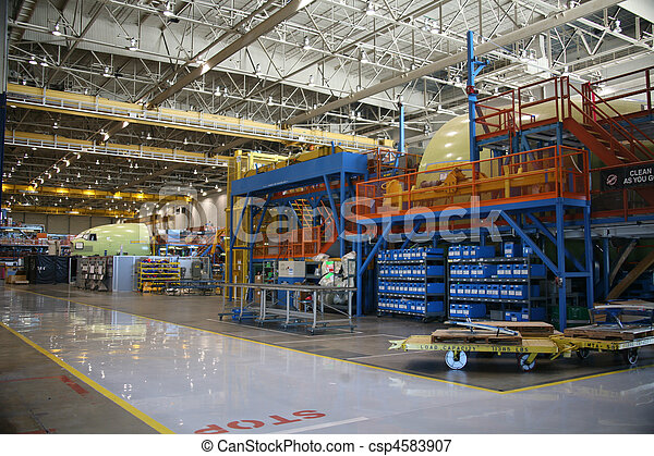 Part Containers in an Aircraft Facility - csp4583907
