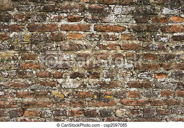 Part of 300 years old brick stone wall with lichens - csp2097085