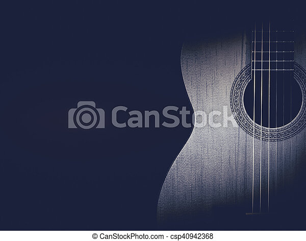 Part Of A Blue Acoustic Guitar On Black Background Part Of A Blue