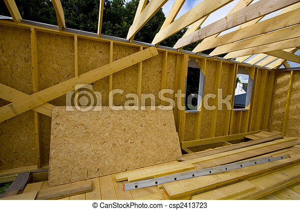 part of a wood house construction - csp2413723